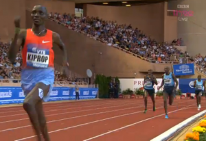 Kiprop was all alone on the final lap in Monaco last year