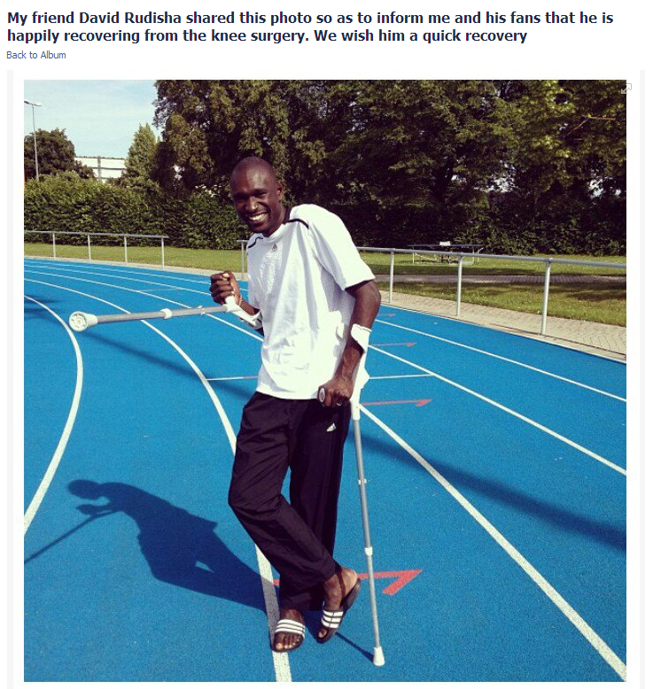 David Rudisha on crutches