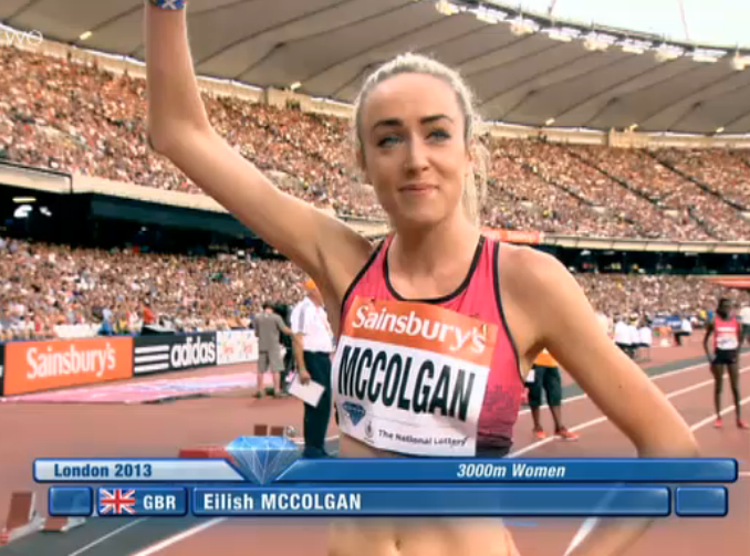 Eilish McColgan before the race