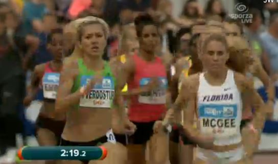 Cory McGree(r)  in the lead shortly after 800