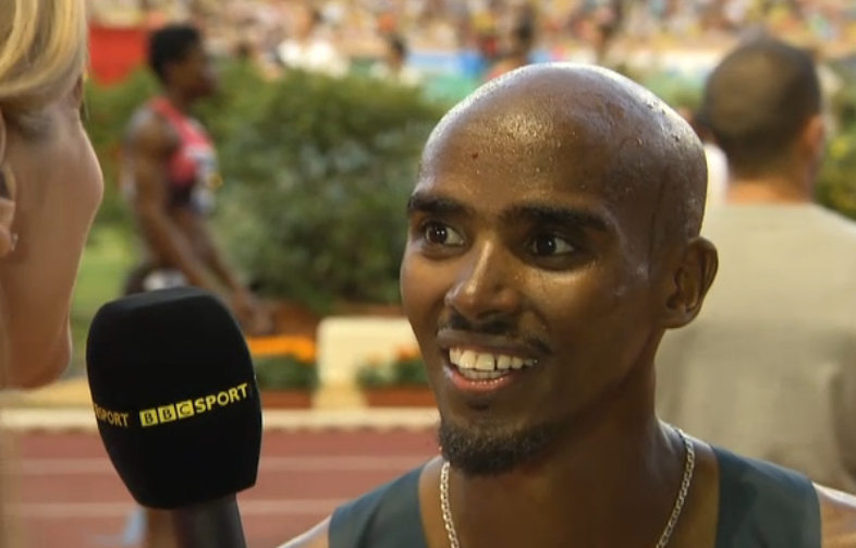 Mo Farah, full of smiles after setting the British record
