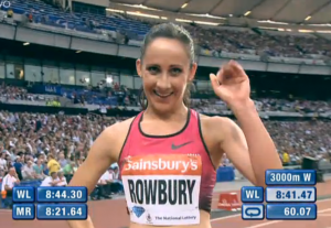 Shannon Rowbury celebrating her 3000m victory in London earlier this year