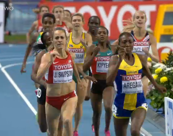 Jenny Simpson and Abebe Aregawi battle for gold in the final 100 meters of Moscow WCs