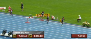 Ezekiel Kemboi on his way to victory after clearing the last barrier