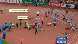 Running With Kiprop Isn't Always a Good Thing (Centro, Kiprop and Leo were way back early in the last lap)