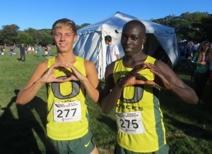 PHOTO: Jake Leingang (l) and Edward Cheserek celebrate after finishing second and first, respectively, at the Coast-to-Coast Battle in Beantown cross country meet in Boston's Franklin Park (photo by Chris Lotsbom for Race Results Weekly)