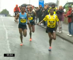 Haile still leading until almost mile12