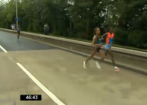 Jeptoo and Defar were clear of Dibaba just after 9th mile