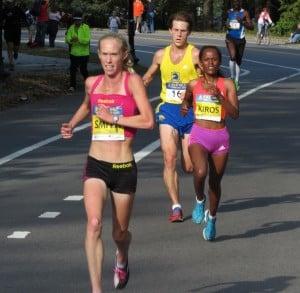 Kim Smith en route to winning $100,000 at the 2012 BAA Half-Marathon. Photo by Jane Monti.