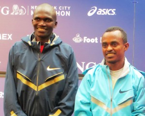 Stephen Kiprotich of Uganda (l) and Tsegaye Kebede of Ethiopia before the 2013 ING New York City Marathon (photo by Chris Lotsbom for Race Results Weekly)