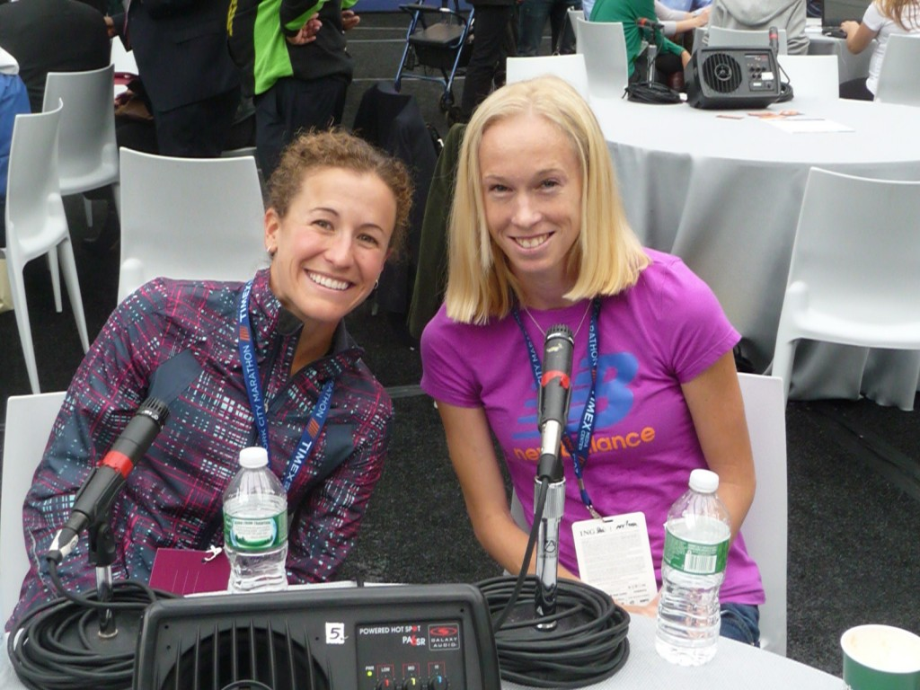 Amy Hastings (l) and Kim Smith prior to the 2013 New York City Marathon