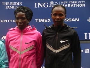 Edna Kiplagat and Priscah Jeptoo prior to the 2013 New York City Marathon