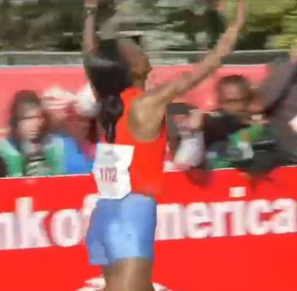 RIta Jeptoo was deservedly very excited after this one