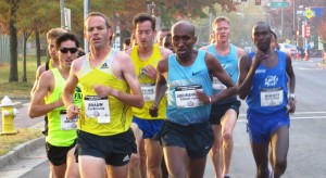Aaron Braun (front row, bright yellow kit) leads Matt Llano (far left with sunglasses), Tim Ritchie (second row, yellow/blue kit), Abdi Abdirahman, Matt Tegenkamp and Shadrack Biwott at the inaugural .US National Road Running Championships (photo by Chris Lotsbom for Race Results Weekly)