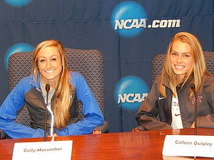 Coleen Quigley (r) with Cally Macumber at last year's NCAA XC press conference *More NCAA XC Photos