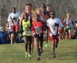 Edward Cheserek (457) and Kemoy Campbell (33) follow Kennedy Kithuka (632) near the 4-kilometer mark at the 2013 NCAA Division I Cross Country Championships (photo by David Monti for Race Results Weekly)