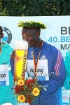 Wilson Kipsang enjoying a cold one after setting the World Record
