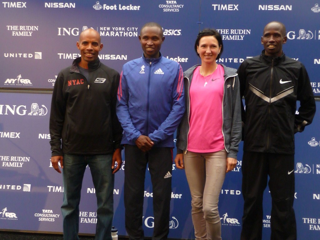 L to R: Meb Keflezighi, Geoffrey Mutai, Jelena Prokopcuka and Martin Lel on New York on Friday