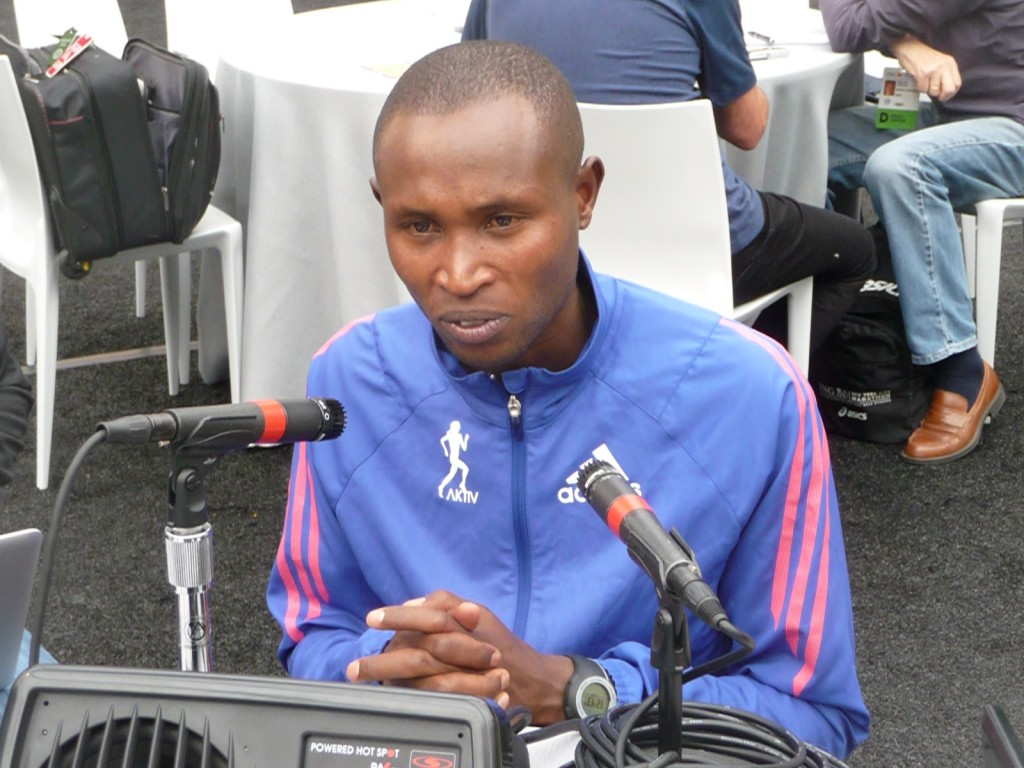 Geoffrey Mutai fielding questions from the media on Sunday