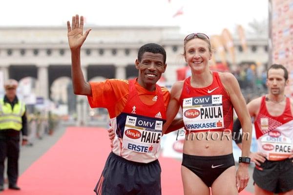 Paula Radcliffe and Haile Gebrselassie