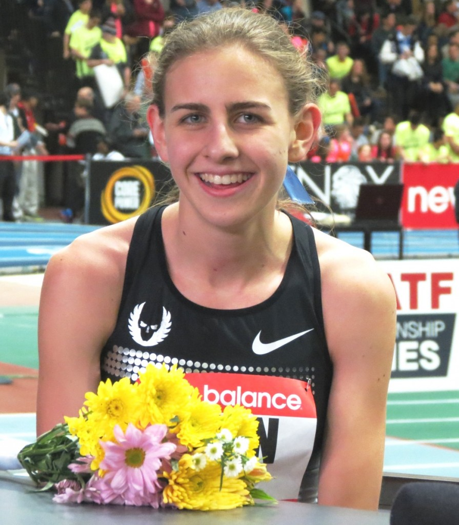 Mary Cain after setting a world junior indoor 1000m best of 2:35.80 at the 2014 New Balance Indoor Grand Prix in Boston (photo by Jane Monti for Race Results Weekly)