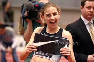Mary Cain celebrates after winning 2014 USA Indoors