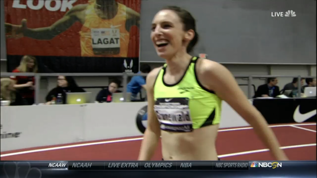 Grunewald was smiling why she was on the track