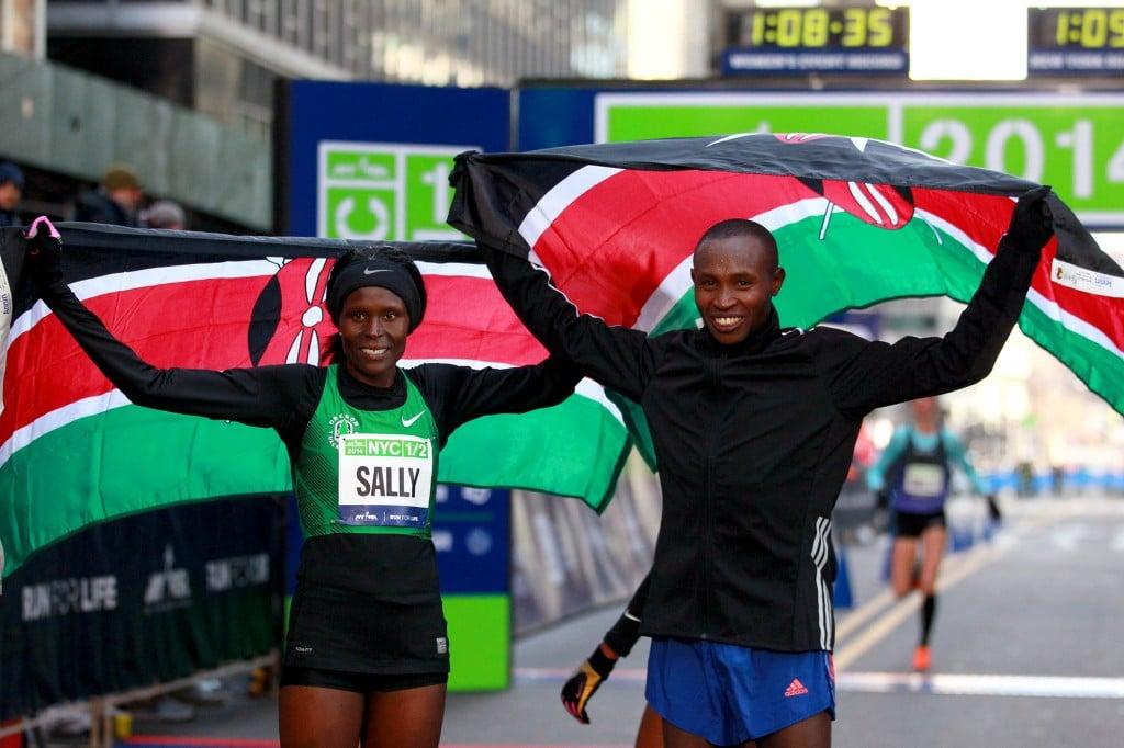 Sally Kipyego and Geoffrey Mutai (PhotoRun/NYRR) (Mens recap here, women's here)