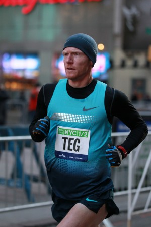 Matt Tegenkamp The First American Geoffrey Mutai of Kenya wins the 2014 NYC Half in 1:00:50 on March 16. (PhotoRun/NYRR)
