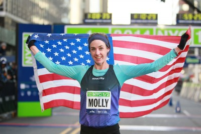 Molly Huddle, after her successful debut (1:09:04) (Credit PhotoRun/NYRR)