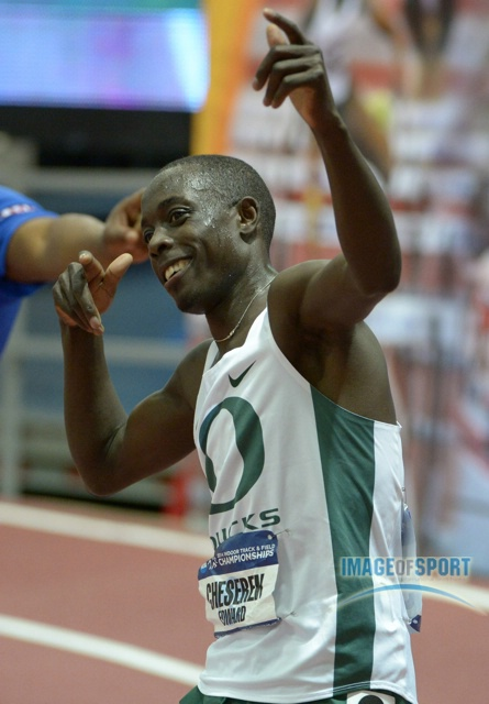 Edward Cheserek Celebrates at 2014 NCAAs (photo by Kirby Lee)