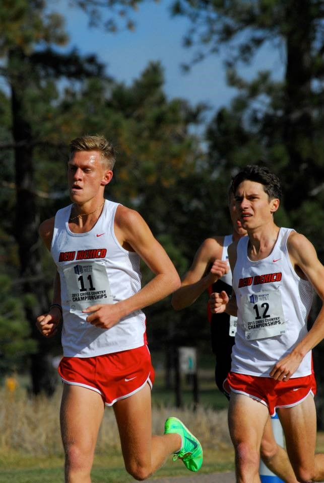 Adam Bitchell (left) leading Luke Caldwell (right) at the 2013 Mountain West Cross-Country Championships