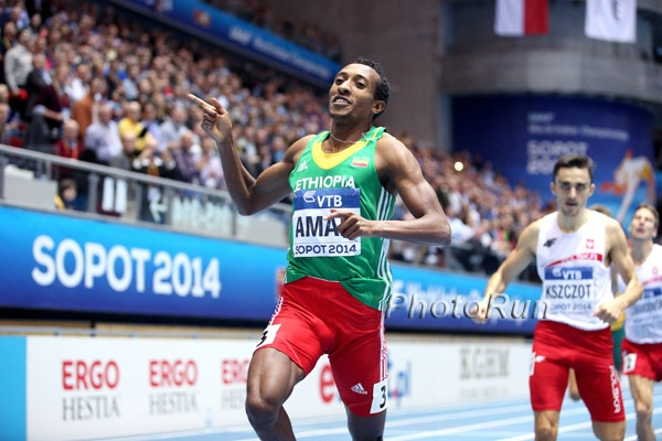 Aman has won two world titles since he last faced Amos or Rudisha. Click on photo for more 2014 World Indoor Photos