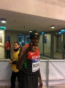 Caleb Ndiku showing of his swag