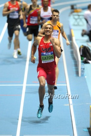 Eaton winning the World Indoor heptathlon title in 2014