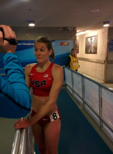 Heather Kampf tries to stay composed after suffering the heart-break of falling in the 2014 World Indoor final