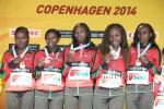Wacera and her Kenyan teammates at the 2014 World Half Marathon Champs