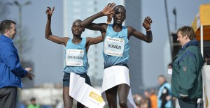 Leonard Komon wins the Vattenfall Berlin Half Marathon in sub-60 last weekend as compatriot Abraham Cheroben also breaks 60