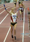 Dominique Scott Celebrates Arkansas DMR win at 2014 NCAA Indoors