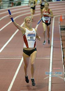 Dominique Scott Celebrates Arkansas DMR win at 2014 NCAA Indoors (click for photo gallery)