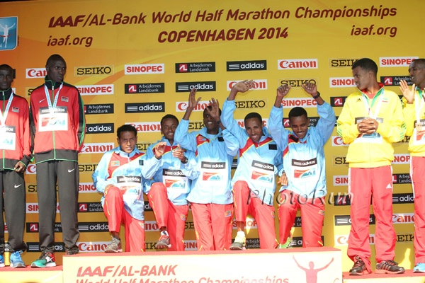 Eritrea won a much deserved men's team gold at the 2014 IAAF World Half Marathon Championships. *More Photos