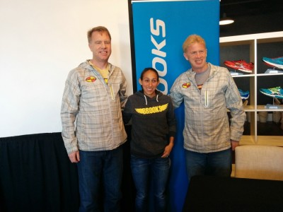 (From left to right) Keith Hanson, Desi Linden and Kevin Hanson prior to the 2014 Boston Marathon