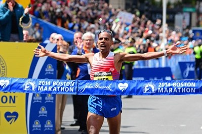 Meb celebrated a win for the ages in Boston last year