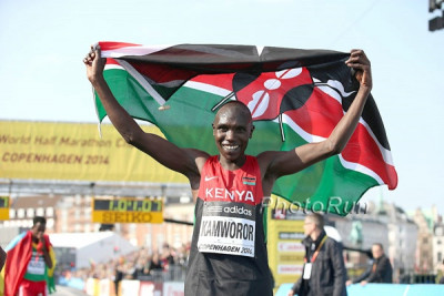 Kamworor won his first senior global title at the 2014 World Half in Copenhagen