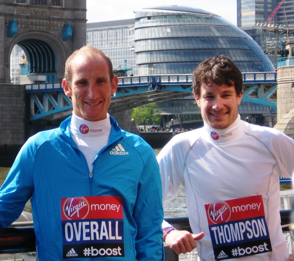 Scott Overall and Chris Thompson in advance of the 2014 Virgin London Marathon (photo by David Monti for Race Results Weekly)