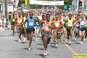 Tilahun Regassa leading Meb and the entire field at 2009 Falmouth