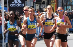 Morgan Uceny on her way to victory in the 2014 B.A.A. Invitational Mile against (left to right) Violah Lagat, Chelsea Reilly, Heather Kampf and Laura Crowe (photo by Jane Monti for Race Results Weekly)