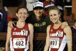 Lauren Fleshman poses with Aisling Cuffe and Jessica Tonn After Cuffe broke Fleshman's school record