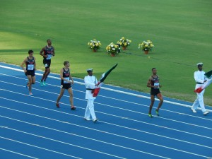 US 4x800 Team with honor guard (all the teams entered together through a tunnel at the 100m start)