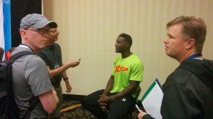 Justin Gatlin faces the media